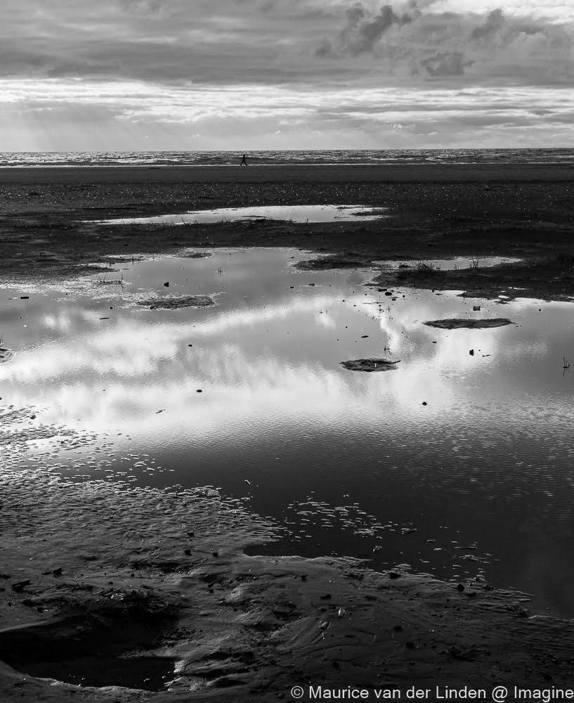 ijmuiden, strand, zwartwit